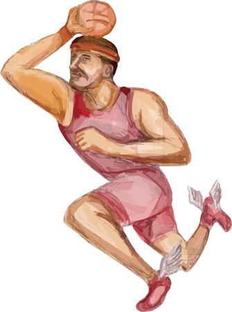 zapatos caricatura: ejemplo de la caricatura de un jugador de baloncesto mate puente jumpshot disparar piernas y zapatos de salto que muestra con las alas establecidos en el fondo blanco aislado