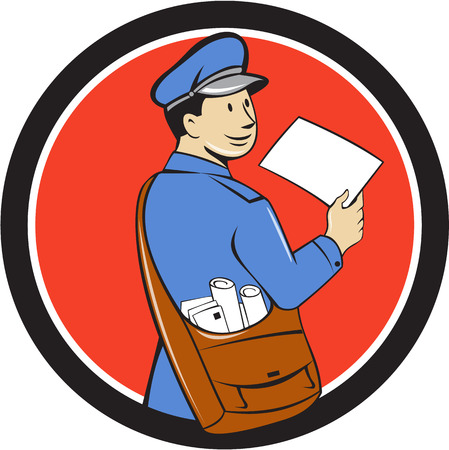 messenger: Illustration of a mailman postman delivering a letter looking to the side viewed from rear set inside circle on isolated background done in cartoon style. Illustration