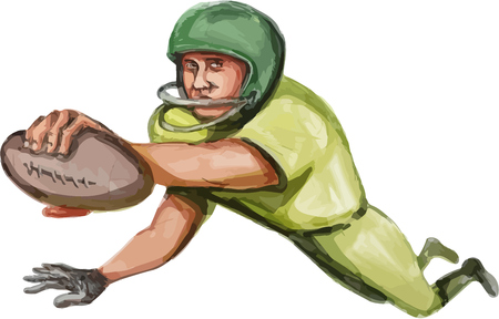 touchdown: Caricature illustration of an american football player carrying ball doing a touchdown viewed from front set on isolated white background. Illustration