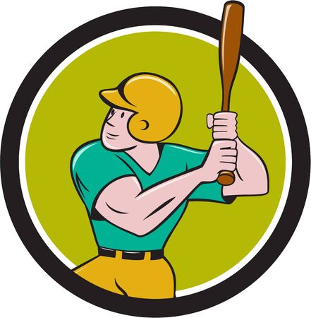 hitter: Illustration of an american baseball player batter hitter with bat batting set inside circle done in cartoon style isolated on background.