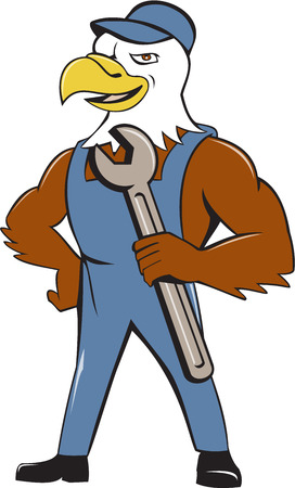 cartoon eagle: Illustration of a american bald eagle mechanic holding spanner looking to the side with one hand on hips set on isolated white background done in cartoon style. Illustration