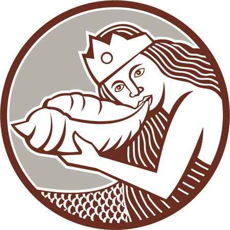 crown tail: Illustration of a mermaid wearing crown blowing a shell horn set inside circle done in retro style on isolated backgound. Illustration