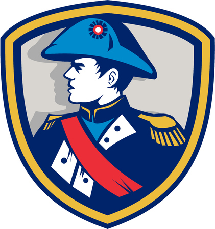 frenchman: Illustration of French general commander Napoleon Bonaparte wearing bicorne bicorn hat twihorn hat looking to side set inside crest done in retro style.