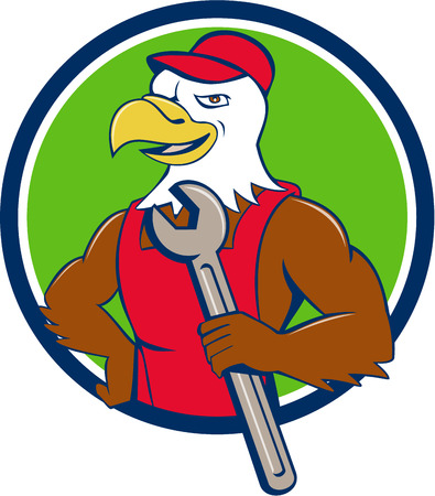 mechanic cartoon: Illustration of a american bald eagle mechanic holding spanner looking to the side with one hand on hips set inside circle done in cartoon style. Illustration