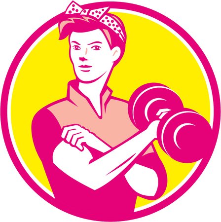 Illustration of a vintage female wearing polka dot headband workout lifting dumbbell facing front set inside circle done in retro style.
