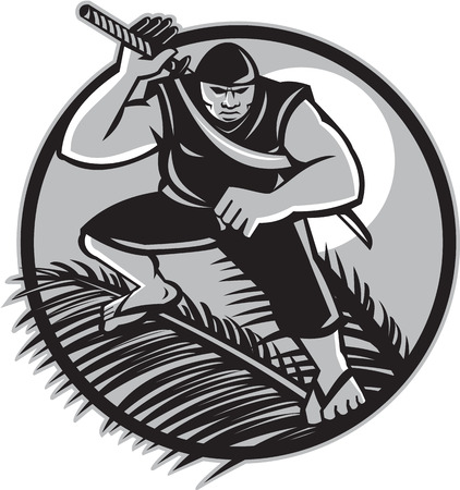 frond: Illustration of a Samoan Ninja with samurai sword standing on top of coconut frond wearing slippers with full moon in  background set inside circle done in retro style. Illustration