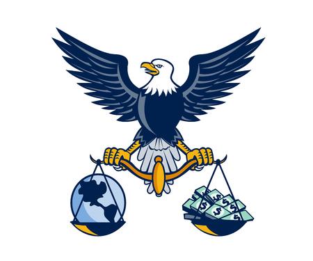 Illustratie van een Amerikaanse kale adelaar met gespreide vleugels weegschaal met de planeet aarde aan de ene kant en cash geld rekeningen op de andere set op witte achtergrond gedaan in retro stijl.