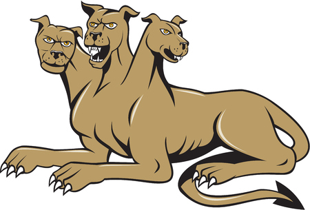 mythology: Illustration of cerberus, in Greek and Roman mythology, a multi-headed usually three-headed dog, or hellhound with a serpents tail, a mane of snakes lions claws sitting set on isolated white background done in cartoon style.