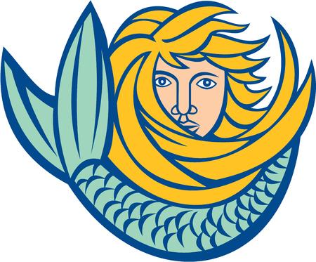 cola mujer: Ilustración de una sirena con una larga cabellera de oro y curling cola delante en el fondo blanco aislado hecho en estilo retro.
