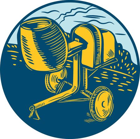 linoleum: Illustration of a concrete cement mortar mixer set inside circle done in retro woodcut style. Illustration