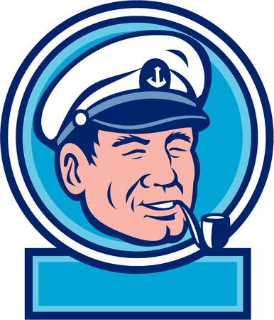 mariner: Illustration of a sea captain, shipmaster, skipper, mariner wearing hat cap smoking smoke pipe set inside circle done in retro style.