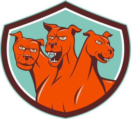 three headed: Illustration of cerberus, in Greek and Roman mythology, a multi-headed usually three-headed dog, or hellhound with a serpents tail, a mane of snakes lions claws set inside shield crest on isolated background done in cartoon style. Illustration