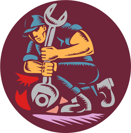 linoleum: Illustration of a mechanic holding giant wrench unscrewing set inside circle on isolated background done in retro woodcut style.