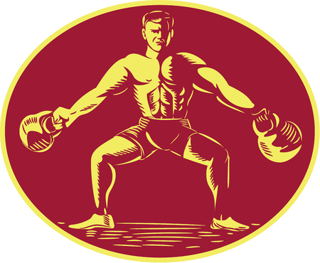 strong men: Illustration of an athlete weightlifter lifting kettlebell viewed from front set inside oval shape on isolated background done in retro woodcut style.