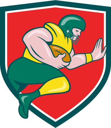 scat: Illustration of an american football gridiron player running back charging with ball viewed from the side set inside shield crest on isolated background done in cartoon style. Illustration