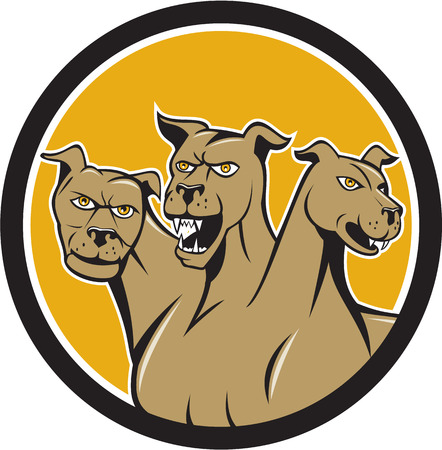 three headed: Illustration of cerberus, in Greek and Roman mythology, a multi-headed usually three-headed dog, or hellhound with a serpents tail, a mane of snakes lions claws set inside circle done in cartoon style.