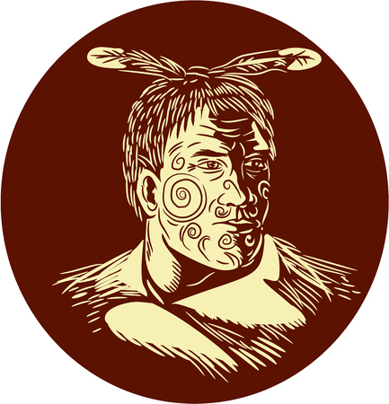 chieftain: Illustration of bust of Maori chief warrior chieftain with tattoos on face and cape looking to the side viewed from the front set inside oval shape done in retro woodcut style.