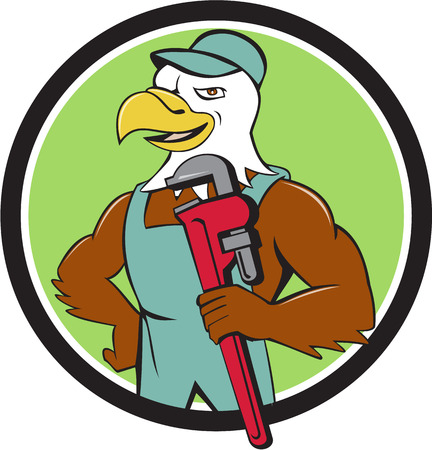 monkey wrench: Illustration of an american bald eagle plumber wearing hat holding monkey wrench looking to the side set inside circle done in cartoon style. Illustration