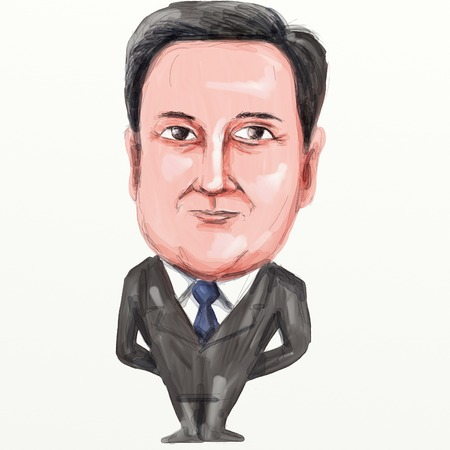 mp: Caricature illustration of David William Donald Cameron English politician and  Prime Minister of the United Kingdom , leader of the Conservative Party and British Member of Parliament (MP) standing viewed from front on isolated background done in waterco