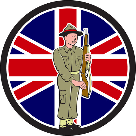 ii: Illustration of a World War II soldier presenting arms rifle weapon for inspection with Union Jack British UK flag in the background set inside circle done in cartoon style.