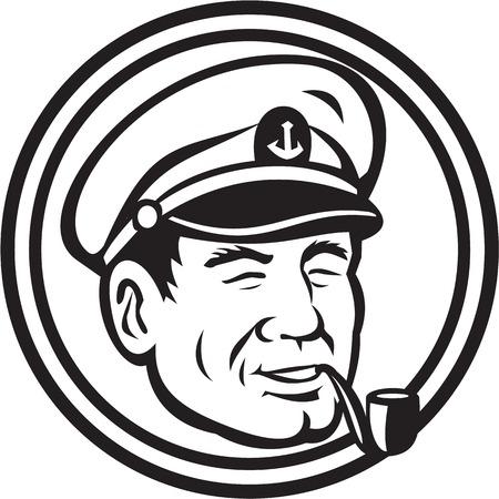 mariner: Black and white illustration of a sea captain, shipmaster, skipper, mariner wearing hat cap smoking smoke pipe set inside circle.