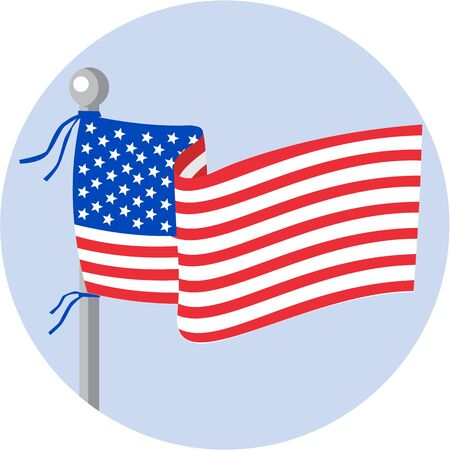 flagpole: Illustration of usa american stars and stripes flag on flagpole set inside circle done in cartoon style.
