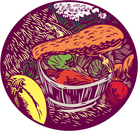 woodblock: Illustration of pumpkin winter squash crop harvest displayed in baskets with flowers and hay set inside oval shape done in retro woodcut style.