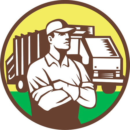 basura: Ilustración de un recolector de basura con los brazos cruzados y los camiones de recogida de residuos de basura en segundo plano dentro del círculo hecho en estilo retro.