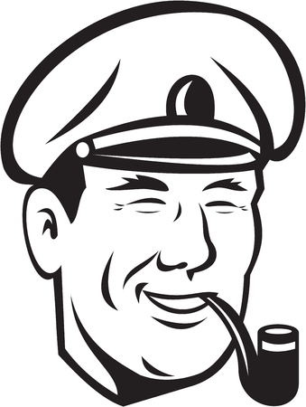 black smoke: Illustration of a sea captain, shipmaster, skipper, mariner wearing hat cap smoking smoke pipe smiling done in black and white on isolated background. Illustration