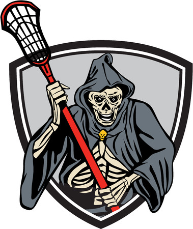 lacrosse: Illustration of the grim reaper lacrosse player holding a crosse or lacrosse stick pole viewed from front set inside crest shield done in retro style. Illustration