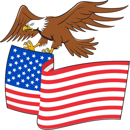 calvo: Ilustración de un águila calva americana realización EE.UU. barras y estrellas de la bandera se ve desde el conjunto de lado en el fondo blanco aislado hecho en estilo de dibujos animados.