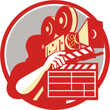 shooting: Illustration of a cameraman movie director holding vintage movie film camera and clapboard set inside circle on isolated background done in retro style.