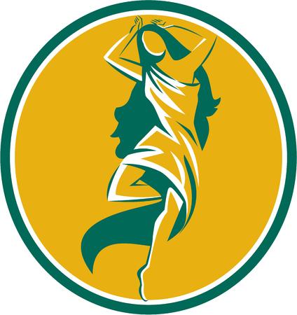 aphrodite: Ilustración de la mujer Afrodita en puntas de pie piroutte establece dentro de forma ovalada en el fondo aislado hecho en estilo retro. Vectores