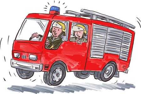 caricatura: Ilustración de un aparato de extinción de incendios motor de camión de bomberos rojo con el combatiente del fuego del bombero trabajador de emergencia montado en el fondo blanco aislado.