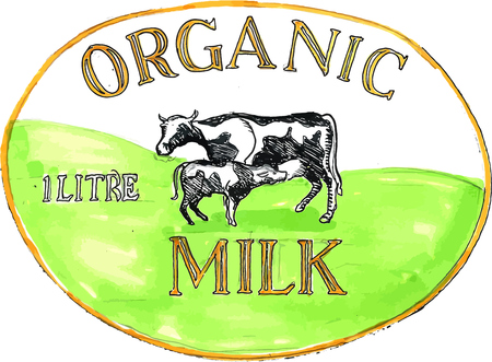 litre: Drawing sketch style illustration of an organic milk label showing a cow with its calf suckling set inside oval shape with words Organic Milk 1 litre. Illustration