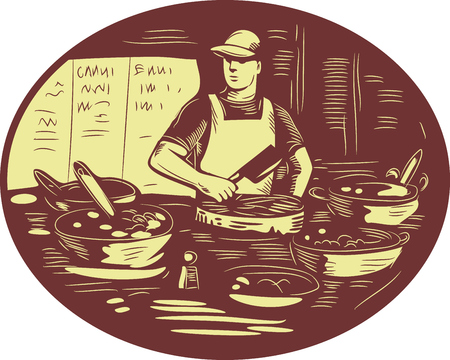 caterer: Illustration of a Taco chef cook wearing hat and apron holding meat cleaver knife in market food stall with pots set inside oval shape done in retro style.