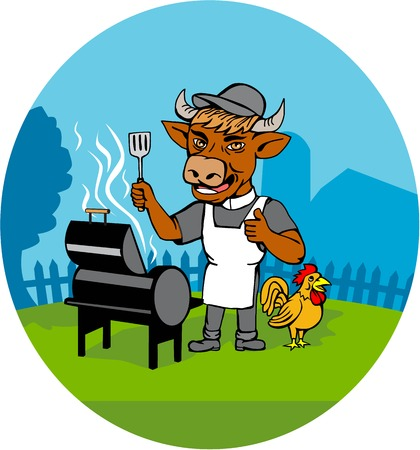 grilling: Illustration of a cow barbecue chef holding a spatula wearing a minister clerical collar, hat  and apron with grill or smoker and chicken rooster on side set inside oval shape done in caricature style.