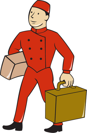 bellboy: Illustration of a bellboy, bellhop or porter carrying suitcase, bag and luggage set on isolated white background done in cartoon style.