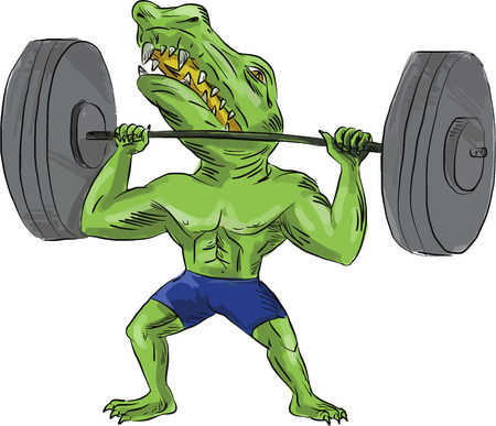 deity: Illustration of Sobek also called Sebek, Sochet, Sobk, and Sobki an ancient Egyptian deity with head of crocodile and body of a man lifting a barbell viewed from front set on isolated white background done in caricature cartoon style. Illustration