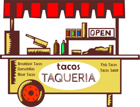cart: Illustration of a taco stand, food stall, food cart, taquer?a or restaurant that specializes in tacos and other Mexican dishes viewed from front set on isolated white backgound done in retro style.