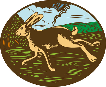 woodblock: Illustration of a wild hare bunny rabbit running viewed from side with farm trees and mountains in background set inside oval shape done in retro woodcut style.