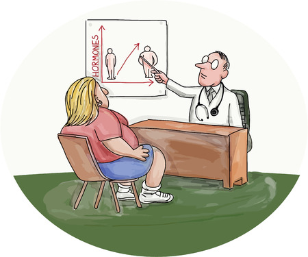 doctor who: Illustration of an obese woman patient talking to her doctor who is pointing to a chart on the wall done in caricature style.