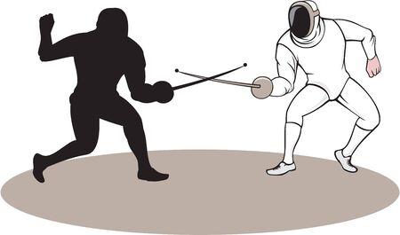 swordsmanship: Illustration of swordsmen fencer fencing viewed from side set on isolated white background done in cartoon style.