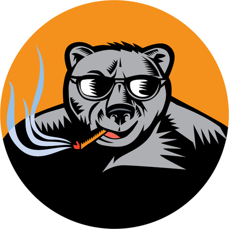 omnivore: Illustration of a black bear wearing sunglasses smoking cigar viewed from front set inside circle done in retro woodcut style.