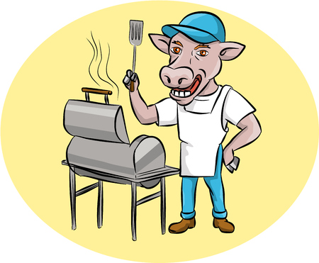 oval shape: Illustration of a cow barbecue chef holding a spatula wearing hat and apron with grill or smoker set inside oval shape set inside oval shape done in cartoon style