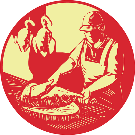 woodblock: Illustration of a Chinese Asian chef cook chopping meat with meat cleaver knife on wood block with duck meat hanging in the background set inside oval shape done in retro woodcut style. Illustration