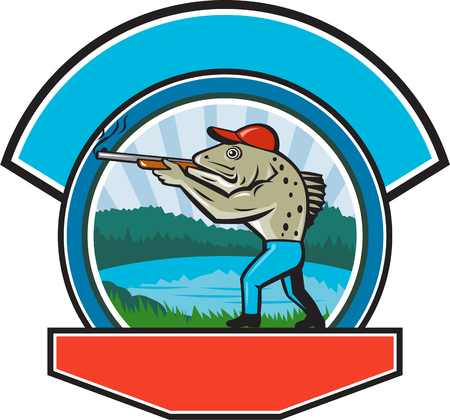 speckled trout: Illustration of a spotted sea trout fish hunter hunting aiming a shotgun rifle viewed from side with lake, trees and mountains  in the background done in retro style.