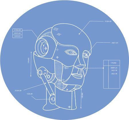 dibujo tecnico: Dibujo t�cnico ejemplo azul de la impresi�n de un robot androide artificial agente virtual, cabeza de la m�quina electromec�nica establece dentro de forma oval.