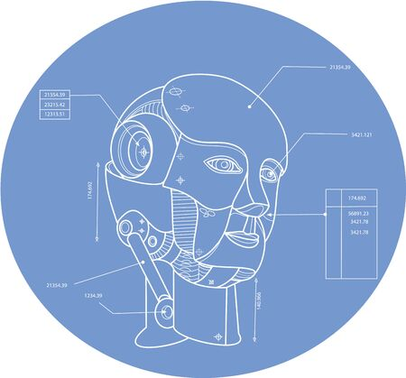 technical drawing: Technical drawing blue print illustration of a robot android virtual artificial agent, electro-mechanical machine head set inside oval shape. Illustration