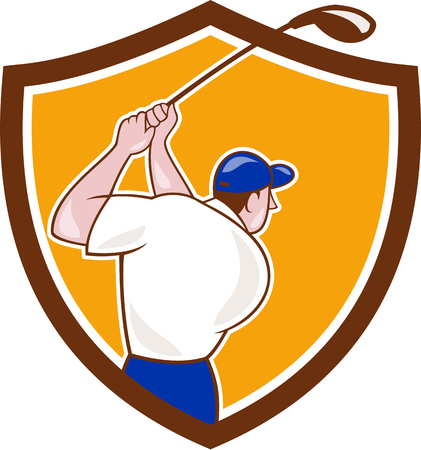 tee off: Illustration of a golfer playing golf swinging club tee off viewed from back rear set inside shield crest on isolated background done in cartoon style.